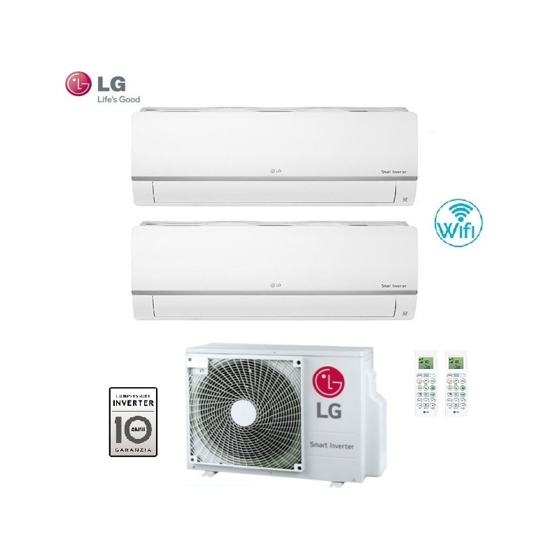 Climatizzatore Condizionatore Lg Dual Split 9+12 Inverter Libero Plus 9000+12000 Btu Con U.e. Mu2m17 Ul4