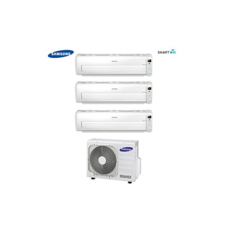 Climatizzatore Condizionatore Trial Split Samsung Inverter Serie Ar7000m Smart Wifi 9+9+12 Con Aj052fcj + Staffa Omaggio