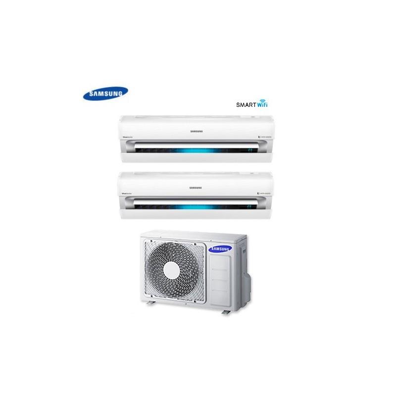 Climatizzatore Condizionatore Dual Split Samsung Inverter 12+12 Serie Ar9000m Smart Wifi 12000+12000 Btu Con Aj050fcj + Staffa O