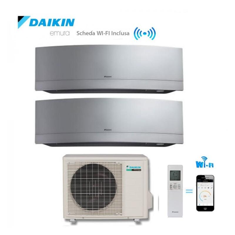 Climatizzatore Daikin Dual Split 9+18 Inverter Emura Silver Wi-fi 9000+18000 Con 2mxs50h