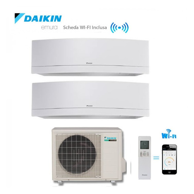 Climatizzatore Daikin Dual Split 9+12 Inverter Emura White Wi-fi 9000+12000 Con 2mxs50h