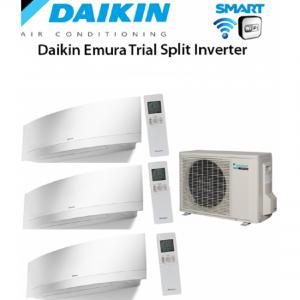 Climatizzatore Daikin Trial Split 7+7+12 Inverter Emura White Wi-fi 7000+7000+12000 Con 3mxs52e