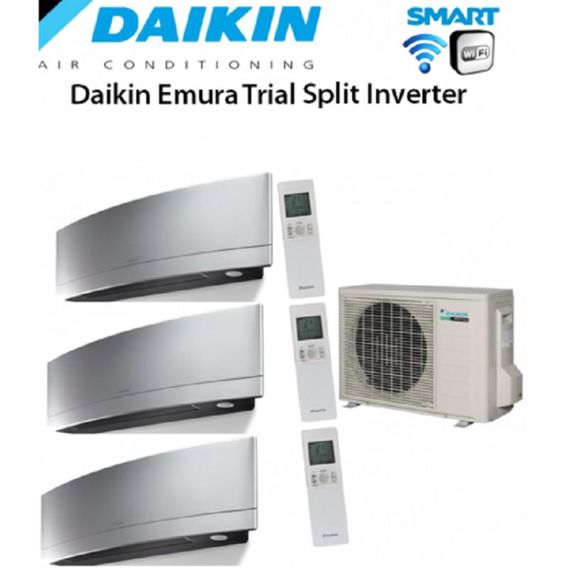 Climatizzatore Daikin Trial Split 7+7+12 Inverter Emura Silver Wi-fi 7000+7000+12000 Con 3mxs52e