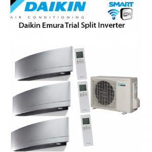 Climatizzatore Daikin Trial Split 9+9+9 Inverter Emura Silver Wi-fi 9000+9000+9000 Con 3mxs52e