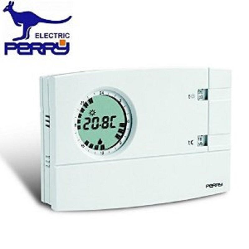 Perry Electric Cronotermostato Da Parete Analogico Digitale Settimanale 3v Serie Easy