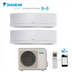 Climatizzatore Daikin Dual Split 9+18 Inverter Emura White Wi-fi 9000+18000 Con 2mxs50h