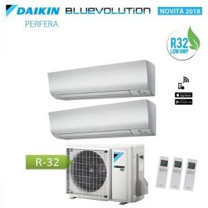 Climatizzatore Condizionatore Daikin Dual Split 7+9 Inverter Perfera Serie Ftxm Bluevolution R-32 7000+9000 Con 2mxm40m