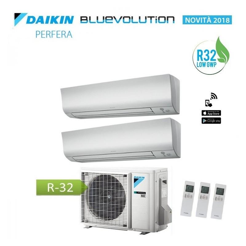 Climatizzatore Condizionatore Daikin Dual Split 7+12 Inverter Perfera Serie Ftxm Bluevolution R-32 7000+12000 Con 2mxm40m
