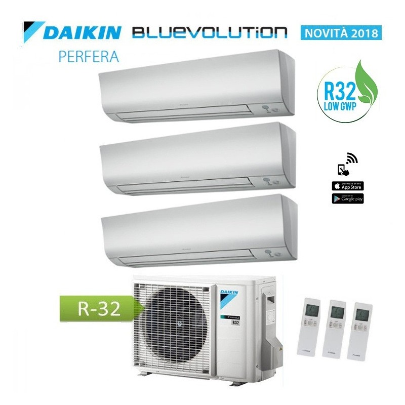Climatizzatore Condizionatore Daikin Trial Split 9+9+9 Inverter Perfera Serie Ftxm R-32 Bluevolution 9000+9000+9000 3mxm68m