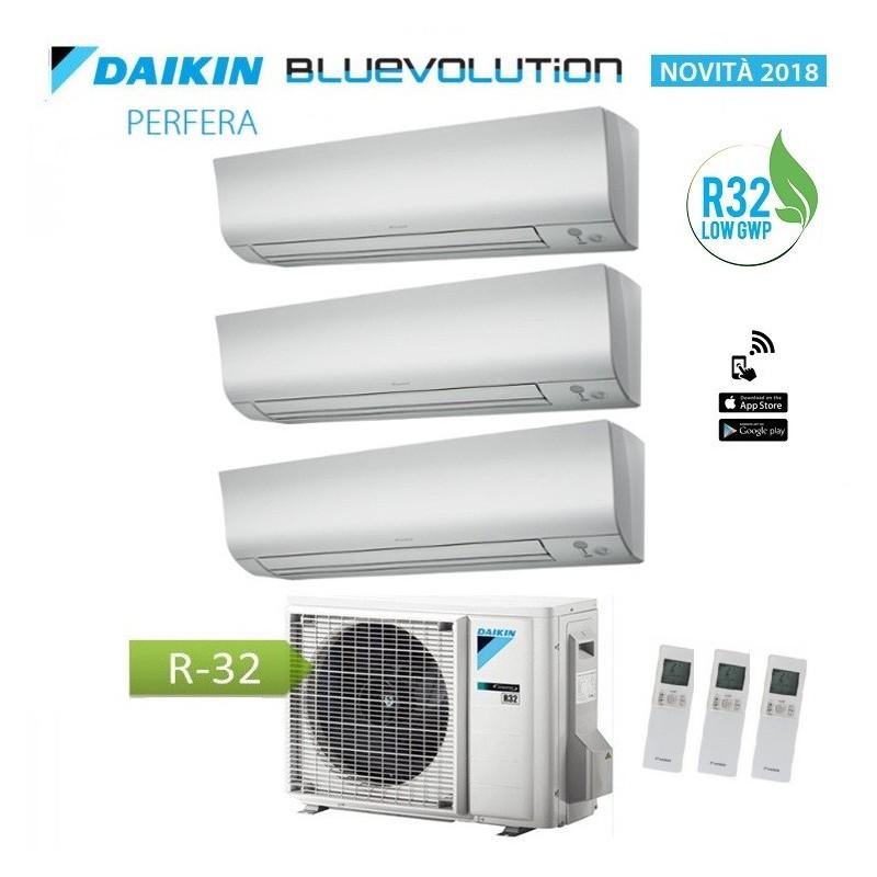 Climatizzatore Condizionatore Daikin Trial Split 9+12+12 Inverter Perfera Serie Ftxm R-32 Bluevolution 9000+12000+12000 3mxm68m