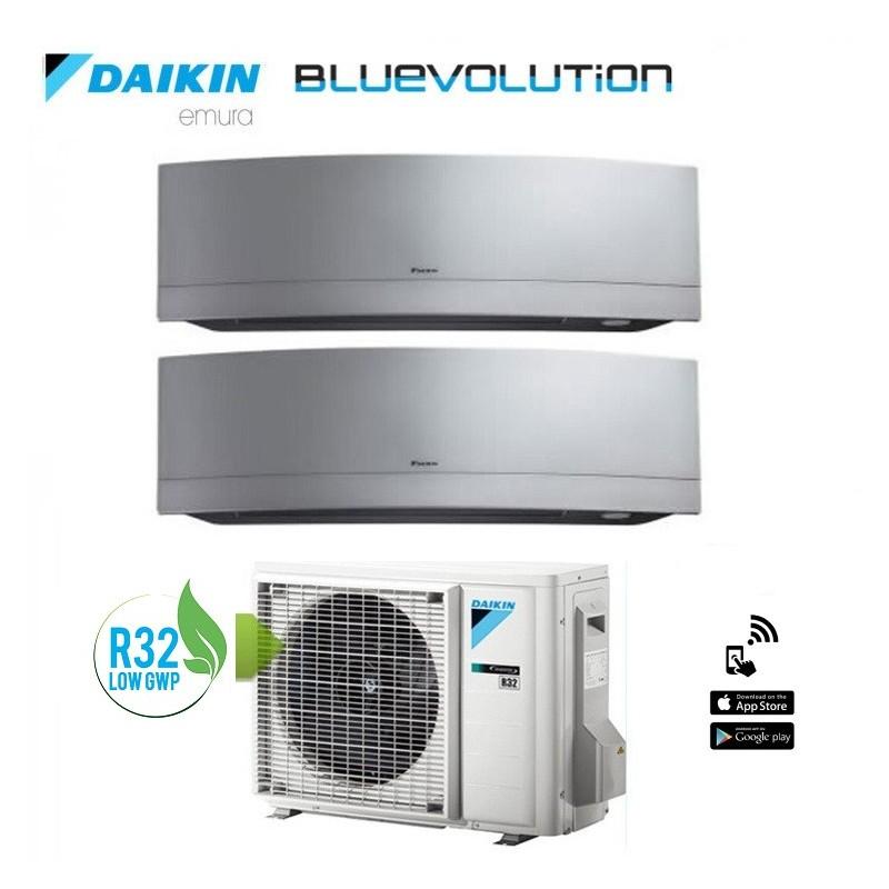 Climatizzatore Daikin Dual Split 7+7 Inverter Serie Emura Silver Wi-fi R-32 Bluevolution 7000+7000 Con 2mxm40m