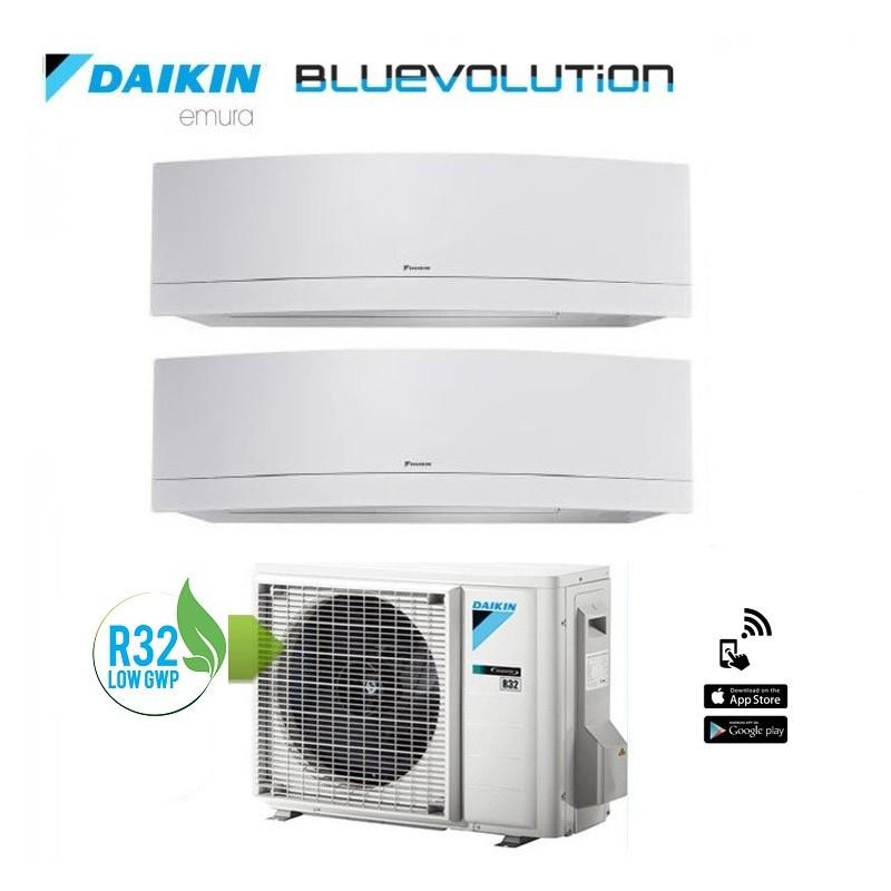 Climatizzatore Daikin Dual Split 7+9 Inverter Serie Emura White Wi-fi R-32 Bluevolution 7000+9000 Con 2mxm40m