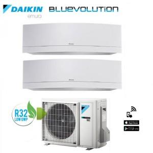 Climatizzatore Daikin Dual Split 7+12 Inverter Serie Emura White Wi-fi R-32 Bluevolution 7000+12000 Con 2mxm50m