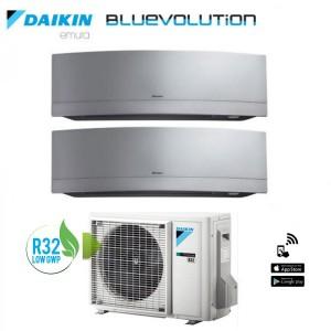 Climatizzatore Daikin Dual Split 9+18 Inverter Serie Emura Silver Wi-fi R-32 Bluevolution 9000+18000 Con 2mxm50m