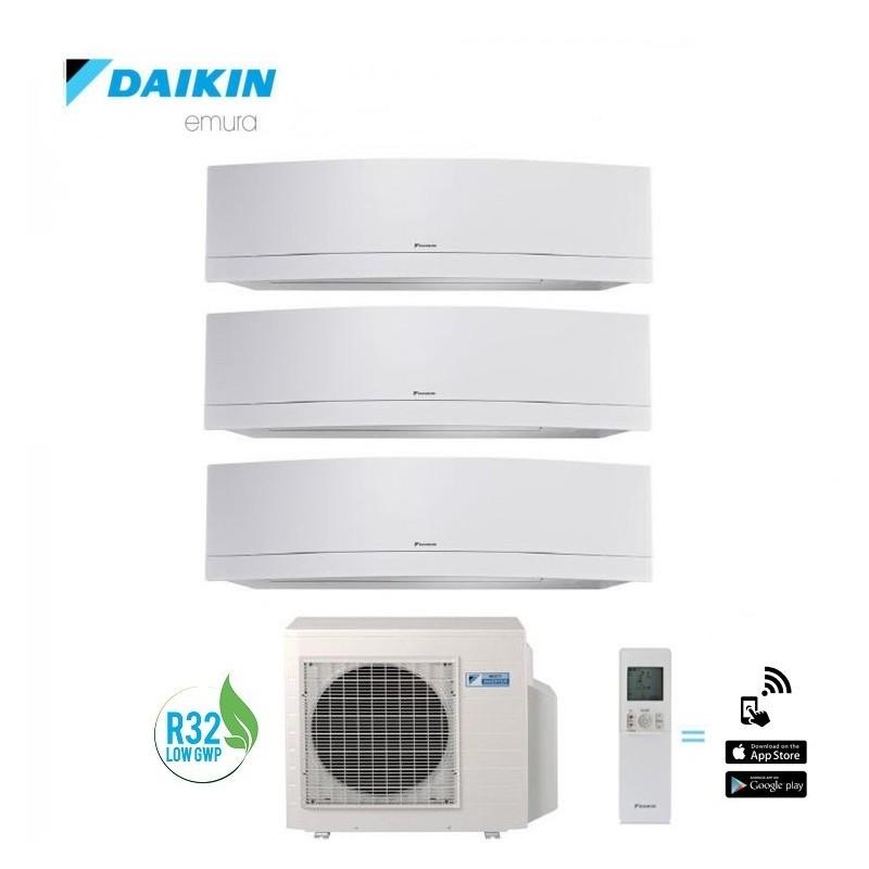 Climatizzatore Daikin Trial Split 7+7+9 Inverter Serie Emura White Wi-fi R-32 Bluevolution 7000+7000+9000 Con 3mxm52m