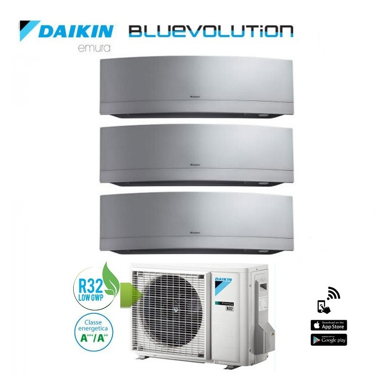 Climatizzatore Daikin Trial Split 7+9+12 Inverter Serie Emura Silver Wi-fi R-32 Bluevolution 7000+9000+12000 Con 3mxm52m
