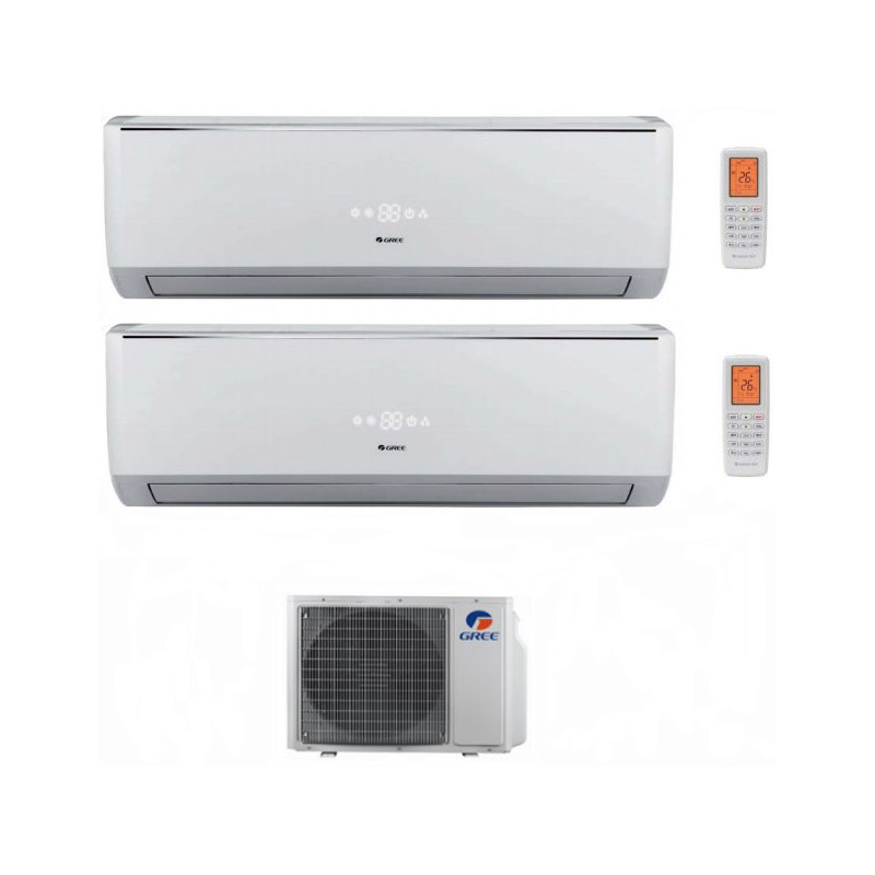 Climatizzatore Condizionatore Gree Dual Split Inverter Serie Lomo 9000+9000 Con Gwhd18nk3ko