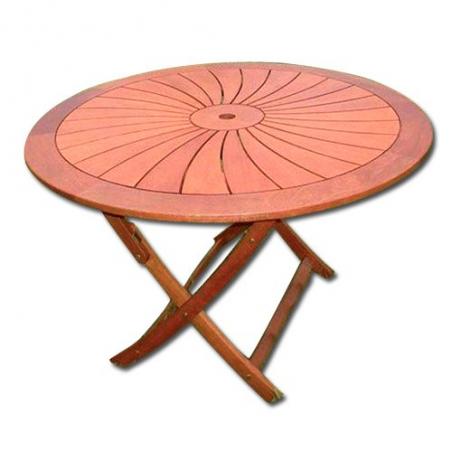 Tavolo Da Esterno Giardino Tondo In Legno Balau Pieghevole Mod Flower Cm 120x74h