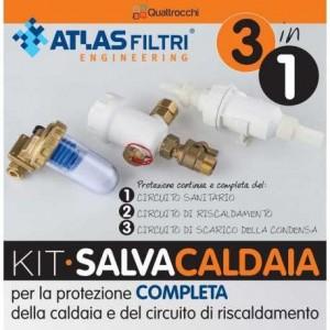 Kit Atlas Filtri Salvacaldaia Completo Di Defangatore Filtro Magnetico + Dosatore Polifosfati + Neutralizzatore Condensa