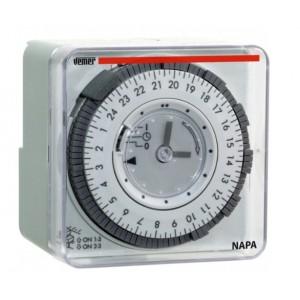 Orologio Interruttore Elettromeccanico Giornaliero Vemer Modello Napa-d A Cavalieri Con Programmazione Giornaliera Cod Vp884100