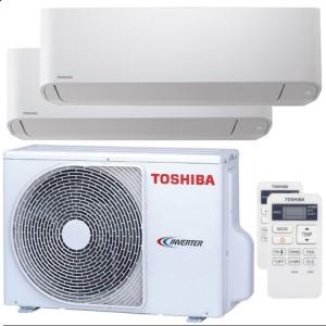 Climatizzatore Condizionatore Toshiba Dual Split Inverter serie SEIYA 7+13 con RAS-2M18U2AVG-E R-32 Wi-Fi Optional 7000+13000