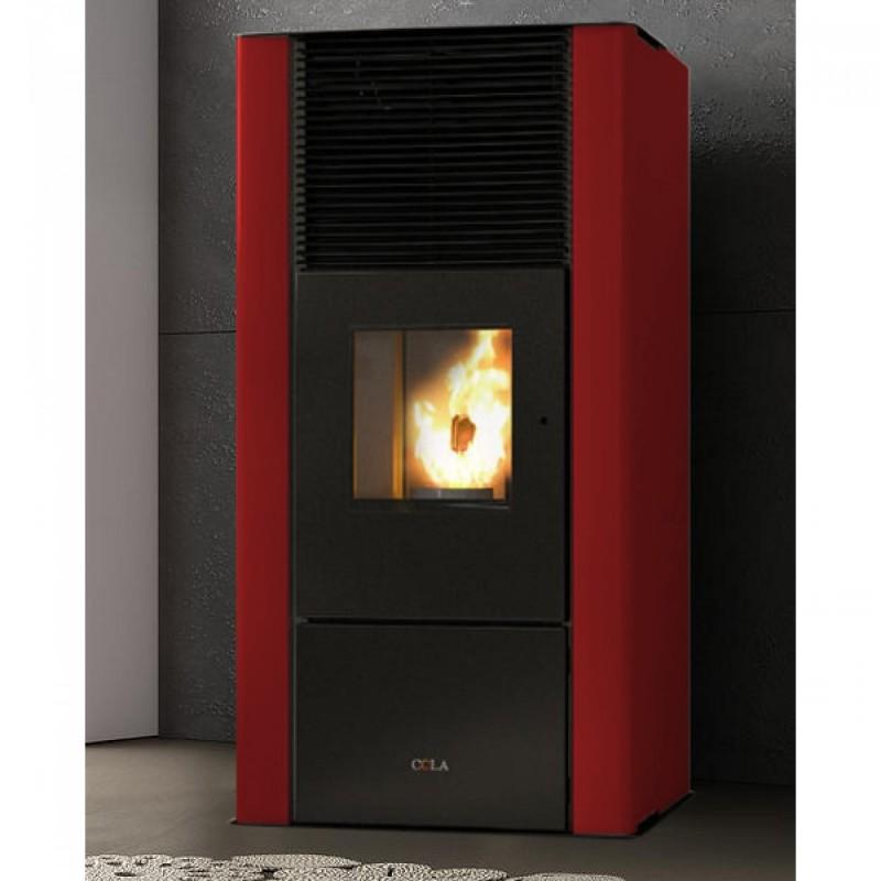 Termostufa a Pellet ANSELMO COLA Modello ENERGYCA 30S 28 kW Bordeaux con ACS